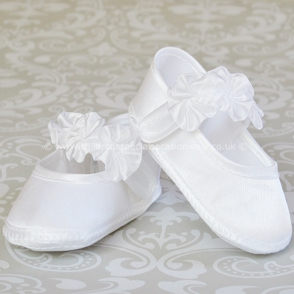 c8759a2aa0aa Baby Girls White Satin Flower Rosette Christening Shoes -  childrensspecialoccasionwear.co.uk